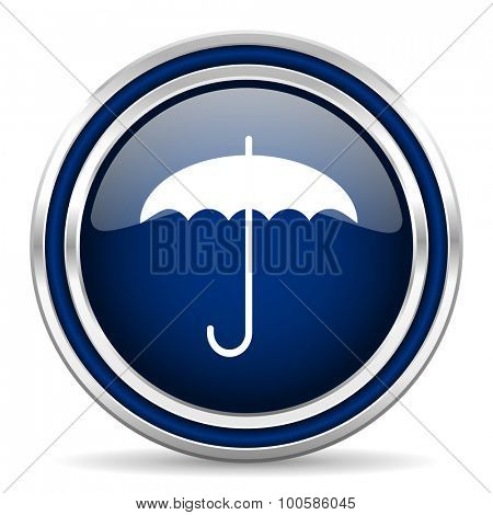 umbrella blue glossy web icon modern computer design with double metallic silver border on white background with shadow for web and mobile app round internet button for business usage
