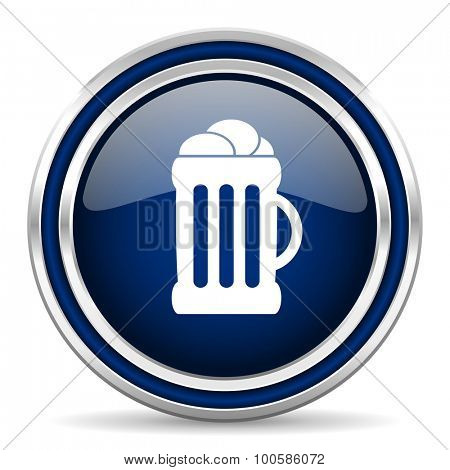beer blue glossy web icon modern computer design with double metallic silver border on white background with shadow for web and mobile app round internet button for business usage