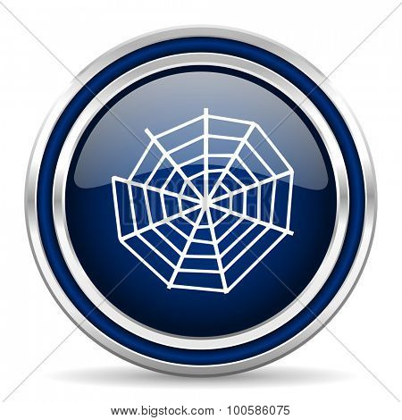 spider web blue glossy web icon modern computer design with double metallic silver border on white background with shadow for web and mobile app round internet button for business usage