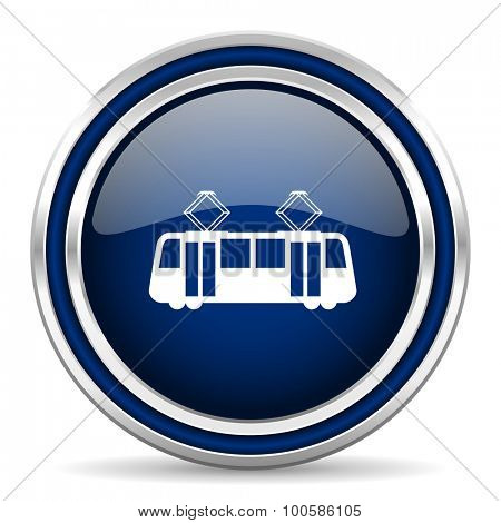 tram blue glossy web icon modern computer design with double metallic silver border on white background with shadow for web and mobile app round internet button for business usage