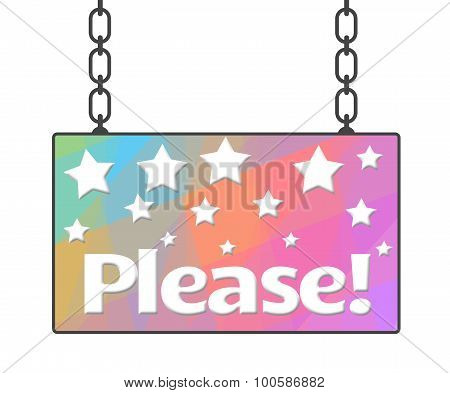 Please Text Colorful Signboard