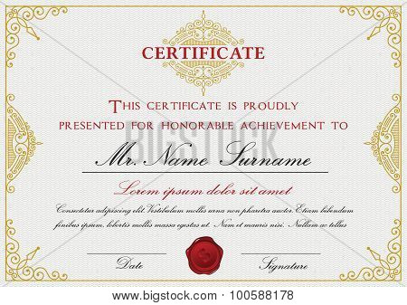 Certificate Template Design With Emblem, Flourish Border