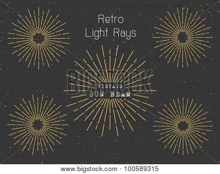 Set of retro light rays design element