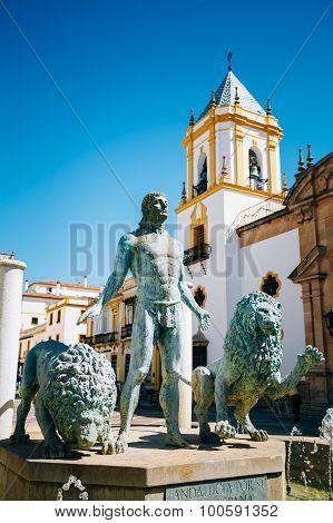 Plaza Del Socorro Church In Ronda, Spain. Old Town Cityscape