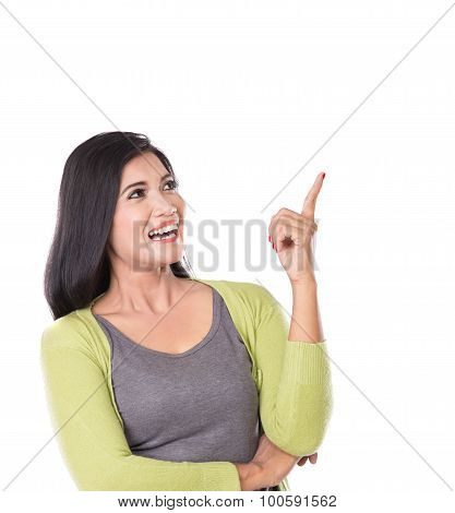 Asian Woman Posing, Get An Idea Hand Gesture