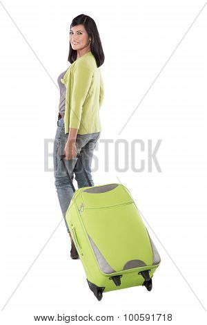 Beautiful Asian Woman Holding Suitcase. Ready To Go On Vacation