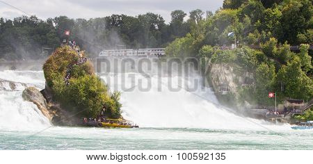 Rheinfalls, Switzerland - July 25, 2015: View To The Biggest Waterfalls Of Europe In Schaffhausen, S