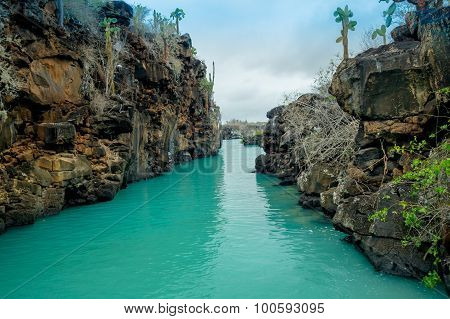 Beautiful landmark Las Grietas is a geological canyon formation in Galapagos Islands at Santa Cruz,