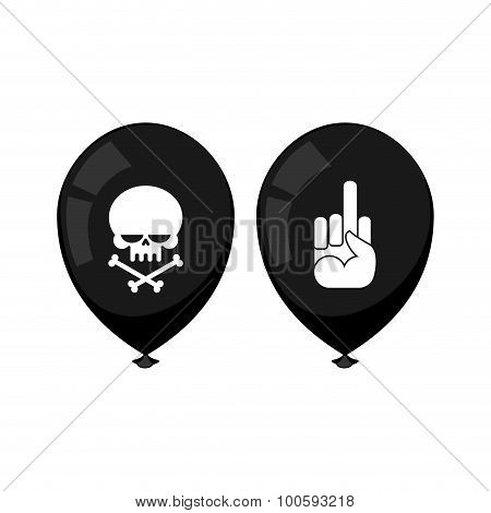 Black Balloon With A Skull And Fuck. Accessories For Bullies. Balloon For A Sad Holiday. Vector Artw
