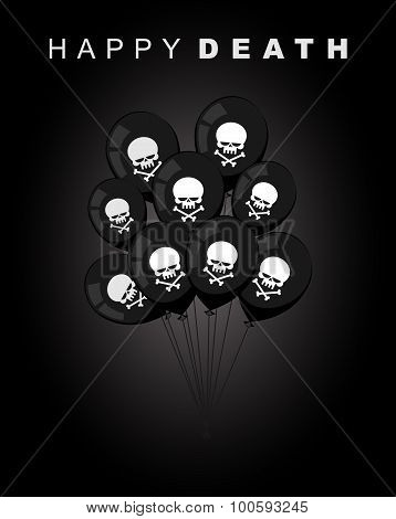 Happy Death. Sad Accessories For Holiday. Black Balloons With A Skull With Crossed Bones. Vector Ill