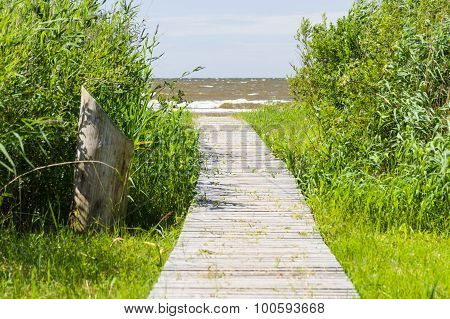 Wooden Boardwalk Leading To A Sea Coast Through Thicket Grass