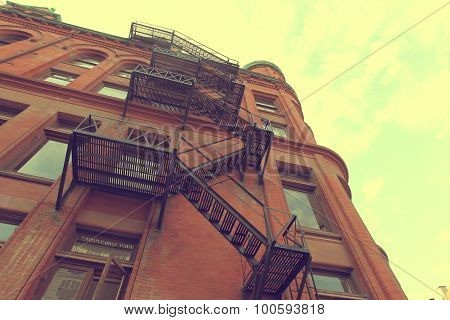 Metal Fire Escape On Facade Of Old Building In Toronto