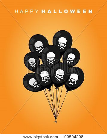 Happy Halloween. Black Balloon With Skull And Bones. Accessory To Terrible And Terrible Holiday. Vec