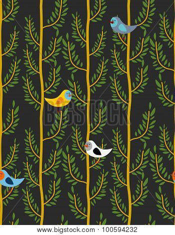 Birds On Trees Seamless Pattern. Vector  Background Of Forest With Birds On Branches. Night Forest
