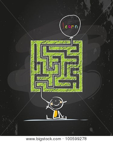 Educational learning for kids conceptual vector illustration, with labyrinth, maze. Doodle style chalk on blackboard hand drawn illustration.