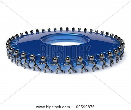 Team Work Gearwheel Business Process Partnership Men Icon