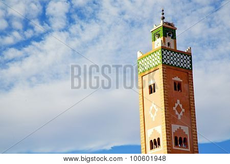 Muslim   In   Mosque  Morocco  Africa  Minaret Religion And    Sky