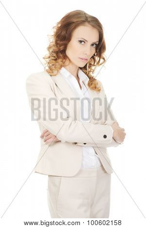 Beautiful confident businesswoman in suit.