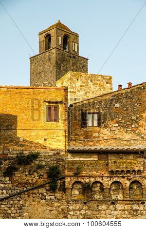 Church Tower During Sunset-san Gimignano, Italy