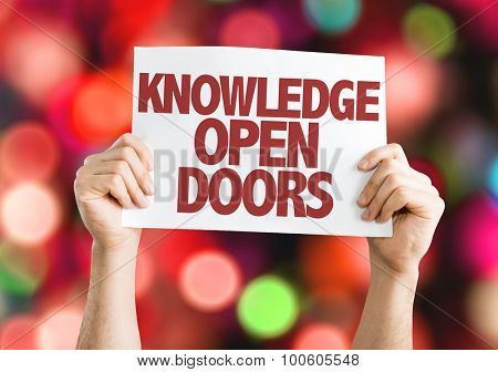 Knowledge Open Doors placard with bokeh background