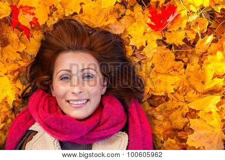 funny ground portrait of resting woman