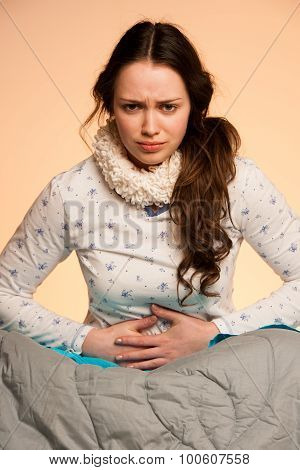 Asian Caucasian Woman With Pain In Her Stomcah - When Belly Hurts