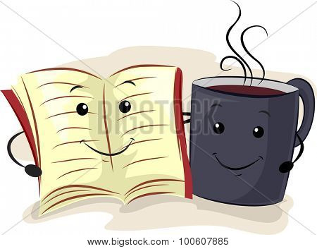 Mascot Illustration of a Book and a Cup of Coffee Hanging Together