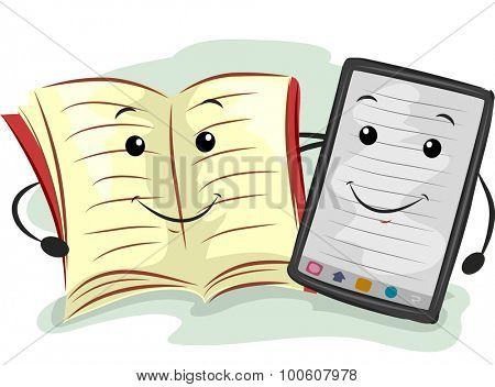 Mascot Illustration Featuring a Paperback and an E-book Reader