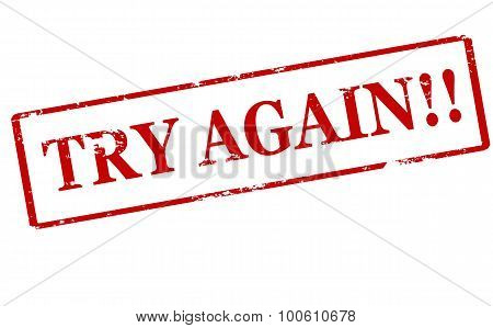 Rubber stamp with text try again inside vector illustration
