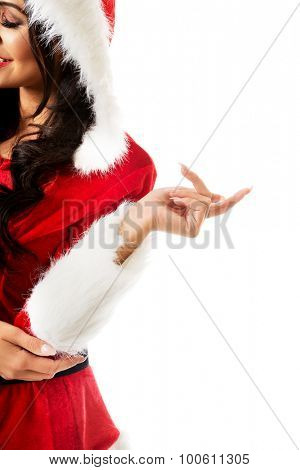 Left side of woman in santa clothes.