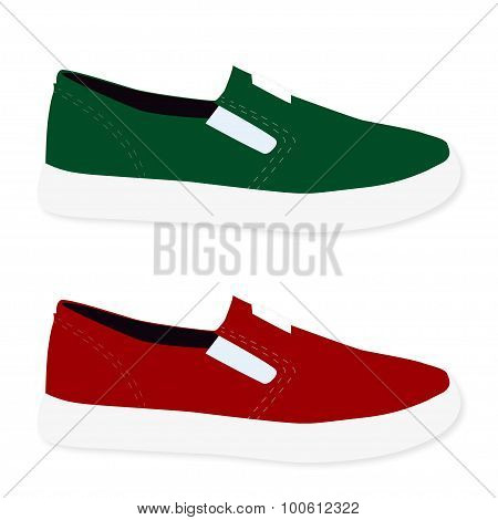 Sneakers colored red and green