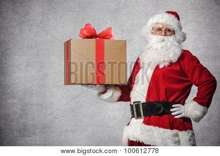 Santa Claus with a big gift box