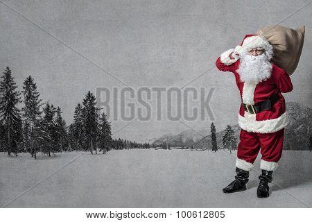 Santa Claus with a big bag of presents