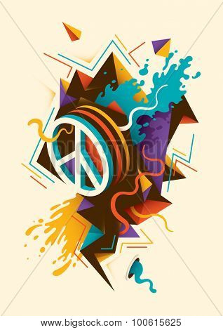 Abstract illustration with peace symbol. Vector illustration.