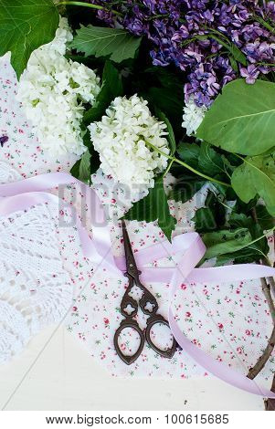 Branch Lilac Tape And Scissors