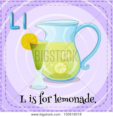 Flashcard letter L is for lemonade