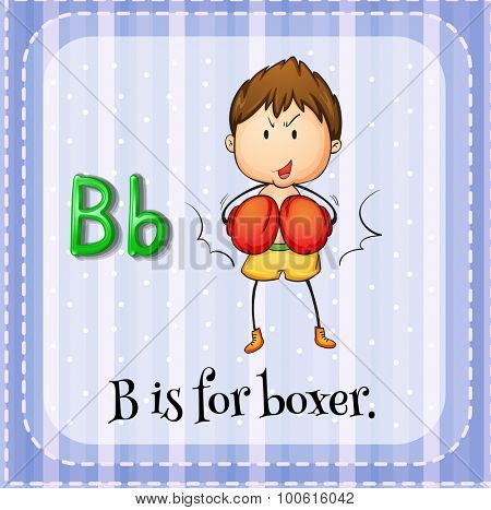 Alphabet B is for boxer illustration