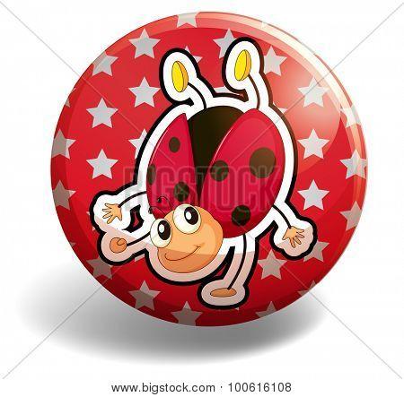Ladybug on red badge illustration