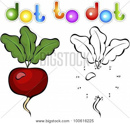 Juicy And Ripe Radish. Educational Game For Kids: Connect Numbers Dot To Dot And Get Ready Image