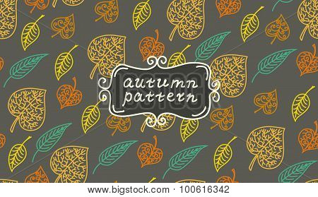 Leaves autumn pattern. In retro style. It contains simple forms of leaves. Dark color version.