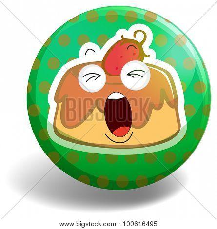 Strawberry cake on green badge
