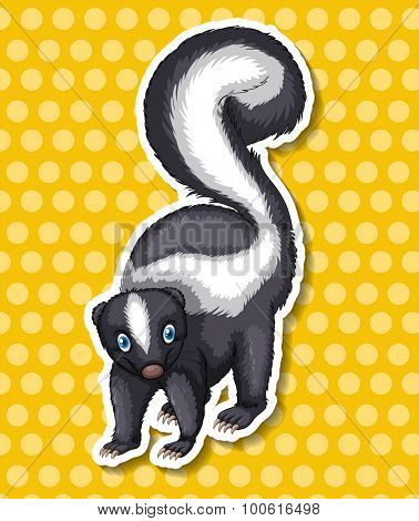 Skunk standing on yellow background