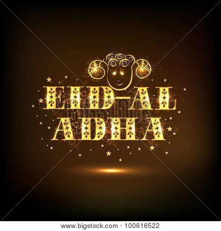 Creative golden text Eid-Al-Adha with sheep face on stars decorated shiny brown background for Islamic Festival of Sacrifice celebration.