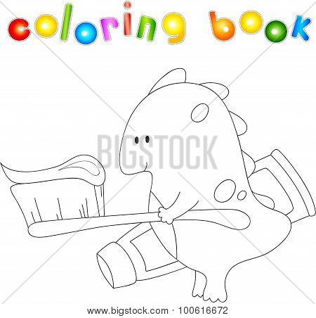 Cute Smiling Dragon With Toothbrush And Toothpaste. Illustration For Children About Healthy Lifestyl