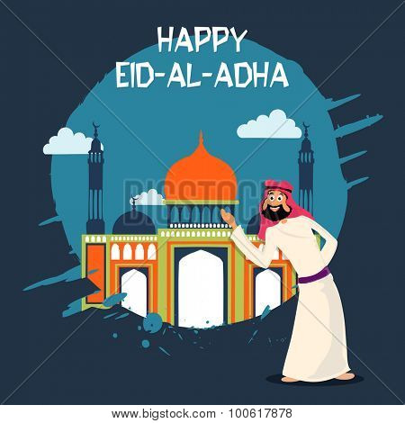 Muslim community festival of sacrifice, Eid-Al-Adha celebration with illustration of a arabian man in front of colorful mosque.
