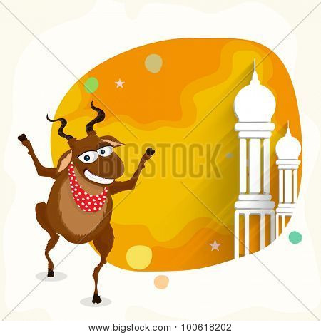 Funny goat with mosque in stylish frame for Islamic Festival of Sacrifice, Eid-Al-Adha celebration.