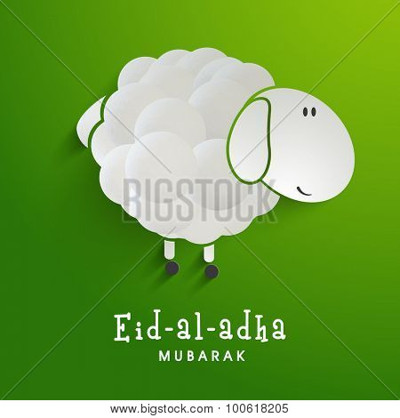 Creative sheep on shiny green background for Islamic Festival of Sacrifice, Eid-Al-Adha celebration.