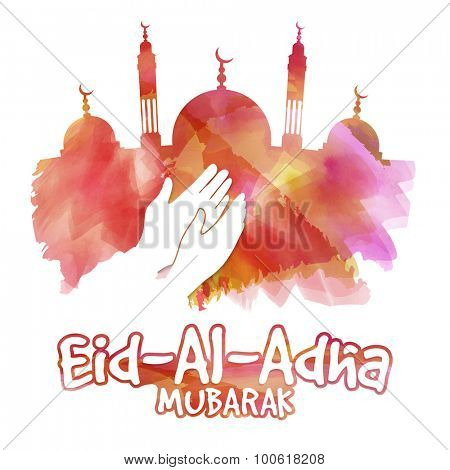 Illustration of a islamic man praying on occasion of muslim community festival of sacrifice, Eid-Al-Adha Mubarak.