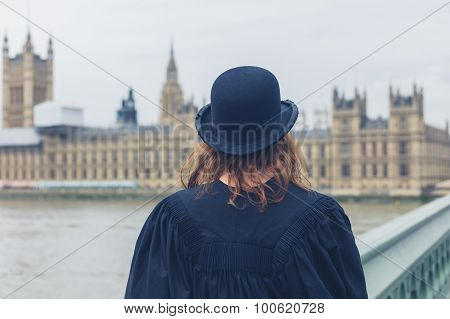 Woman With Bowler Hat At Hopuses Of Parliament