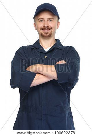 Smiling car mechanic isolated on white background.